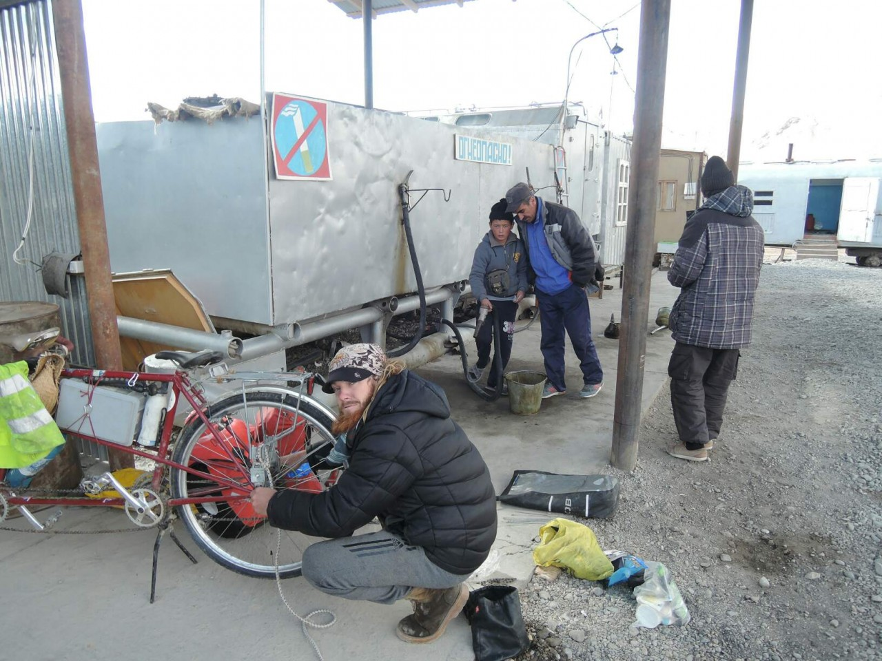 Bike fixing in Murgab