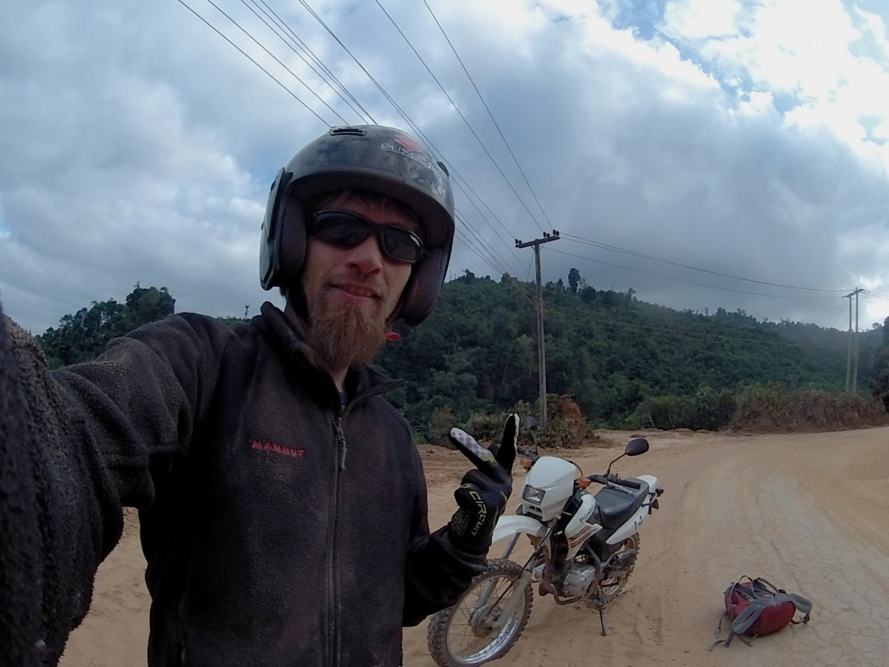 Stevie on the motorbike through Laos