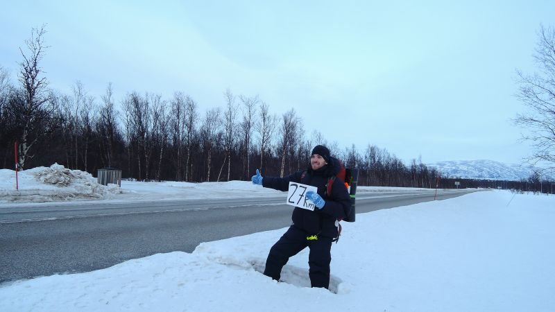Winter hitchhiking in Norway