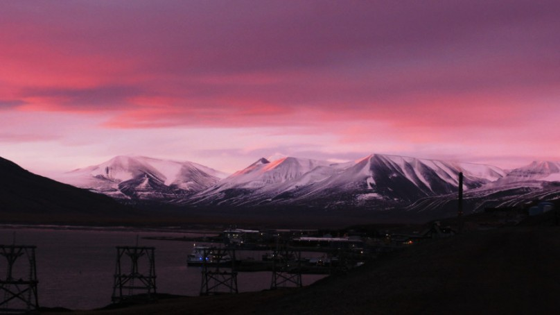 Sunrise in Adventdalen, Svalbard
