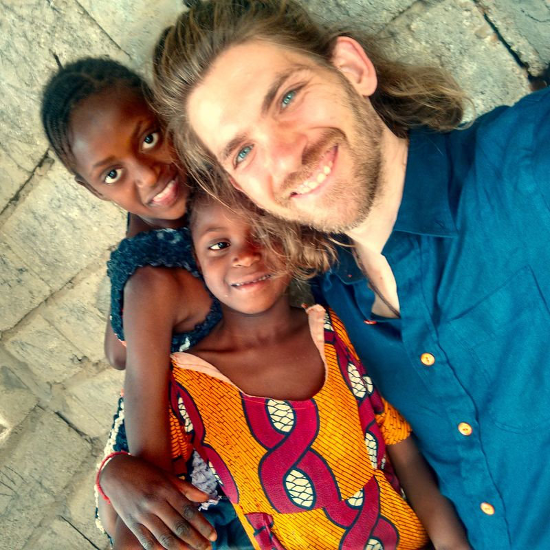 With kids in Senegal